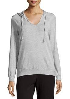 La Perla Scoop-Neck Hooded Sweatshirt, Gray