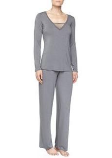 La Perla Studio Lily Floral Mesh Pajama Set, Charcoal