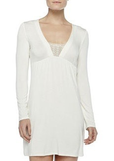 La Perla Studio Long-Sleeve Short Gown, Winter White