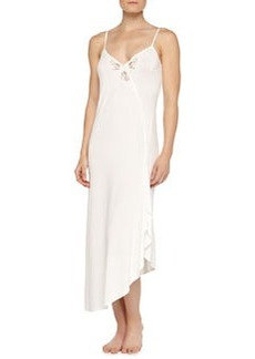 Primula Embroidered Asymmetric Long Gown, Natural   Primula Embroidered Asymmetric Long Gown, Natural