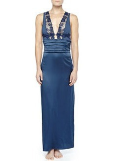 Ricamato Lace-Tulle Satin Gown, Blue   Ricamato Lace-Tulle Satin Gown, Blue