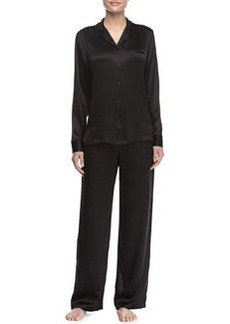 Satin Notch-Collar Pajama Set   Satin Notch-Collar Pajama Set