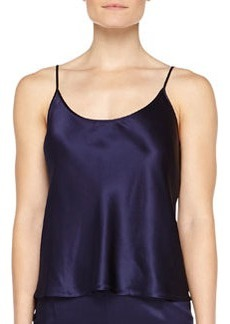 Scoop-Neck Satin Top, Navy   Scoop-Neck Satin Top, Navy