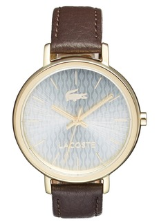 Lacoste 'Nice' Guilloche Dial Leather Strap Watch, 36mm