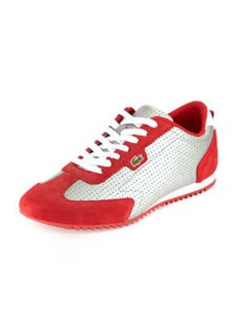 lacoste lacoste westcott perforated sneaker gray red shoes shop it to me. Black Bedroom Furniture Sets. Home Design Ideas