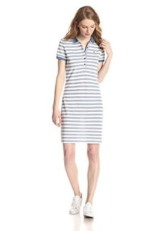 Lacoste Women's Short-Sleeve Striped Pique Polo Dress
