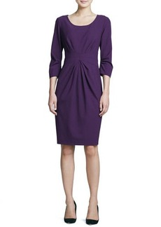 Lafayette 148 New York 3/4-Sleeve Center-Pleated Dress