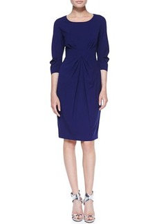 Lafayette 148 New York 3/4-Sleeve Center-Pleated Sheath Dress