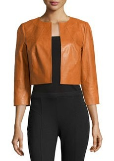 Lafayette 148 New York 3/4-Sleeve Cropped Lambskin Jacket