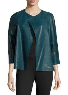 Lafayette 148 New York 3/4-Sleeve Leather Topper, Mallard