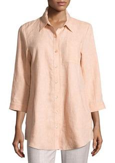 Lafayette 148 New York 3/4-Sleeve Linen Blouse