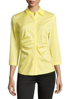 Lafayette 148 New York 3/4-Sleeve Pleated-Front Blouse