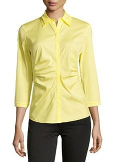 Lafayette 148 New York 3/4-Sleeve Pleated-Front Blouse, Lemon Drop