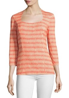 Lafayette 148 New York 3/4-Sleeve Portrait-Neck Top