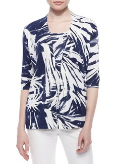Lafayette 148 New York 3/4-Sleeve Printed Georgette-Back Cardigan  3/4-Sleeve Printed Georgette-Back Cardigan