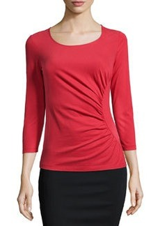 Lafayette 148 New York 3/4-Sleeve Ruched Eclipse Top, Flame