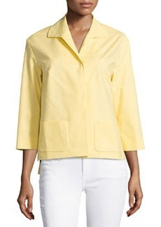 Lafayette 148 New York 3/4-Sleeve Snap-Front Topper, Buttercream