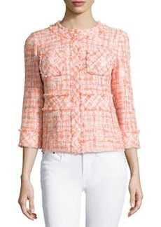 Lafayette 148 New York 3/4-Sleeve Tweed Jacket, Peach/Multi