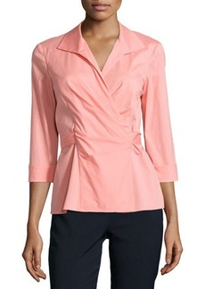 Lafayette 148 New York 3/4-Sleeve Wrap-Front Blouse