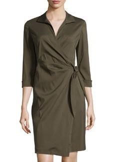 Lafayette 148 New York 3/4-Sleeve Wrap Shirtdress, Vine