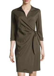Lafayette 148 New York 3/4-Sleeve Wrap Shirtdress
