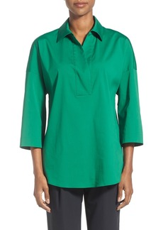 Lafayette 148 New York 'Baldwin' Stretch Cotton Blend Blouse