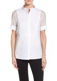 Lafayette 148 New York 'Giovanna' Stretch Cotton Blend Blouse