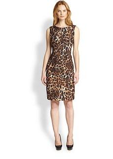 Lafayette 148 New York Abella Leopard-Print Jacquard Dress