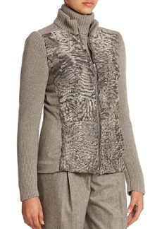 Lafayette 148 New York Ace Cashmere Fur-Trimmed Jacket