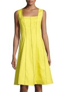 Lafayette 148 New York Adelaide Textured-Seam Sleeveless Dress, Parakeet
