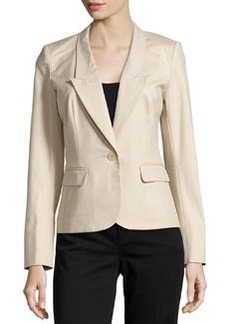 Lafayette 148 New York Adina One-Button Jacket, Khaki