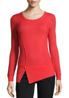 Lafayette 148 New York Aerial Asymmetric Mixed-Knit Sweater, Vermilion
