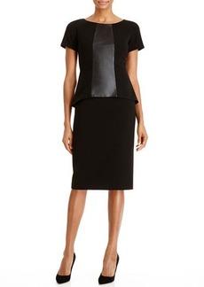 Lafayette 148 New York Alesandra Faux-Leather Paneled Dress