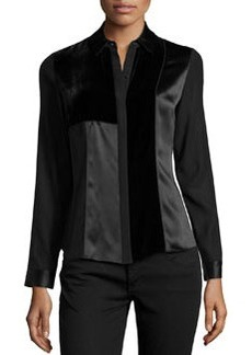 Lafayette 148 New York Allura Velvet-Inset Satin Blouse, Black