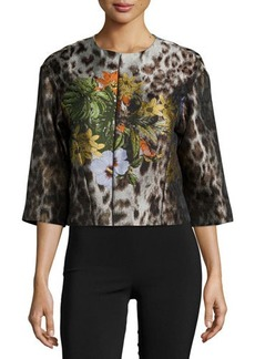 Lafayette 148 New York Amity Floral-Embroidered Jacket, Espresso Multi