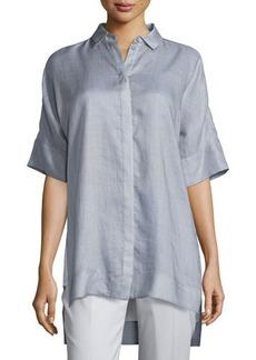 Lafayette 148 New York Andra Gemma Cloth Short-Sleeve Blouse  Andra Gemma Cloth Short-Sleeve Blouse
