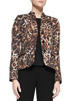 Lafayette 148 New York Andy Mandarin-Collar Leopard-Print Jacket