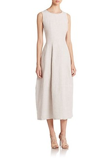 Lafayette 148 New York Angela Linen Midi Dress