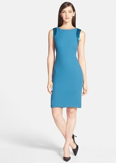 Lafayette 148 New York 'Angelina' Satin Trim Wool Sheath Dress