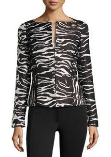 Lafayette 148 New York Animal-Print Front-Zip Jacket, Black Multi