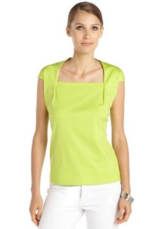 Lafayette 148 New York appletini green stretch cotton cap sleeve 'Giada' top