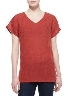 Lafayette 148 New York Ara Linen-Blend Short-Sleeve Top