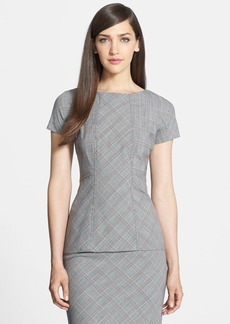 Lafayette 148 New York 'Asten - Poised' Glen Plaid Peplum Blouse