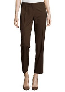 Lafayette 148 New York Astor Straight-Leg Ankle-Crop Pants, Espresso