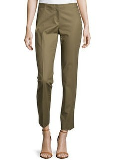 Lafayette 148 New York Astor Straight-Leg Ankle-Crop Pants, Fatigue