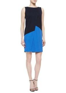 Lafayette 148 New York Asymmetric Colorblock Shift Dress, Ink/Riviera