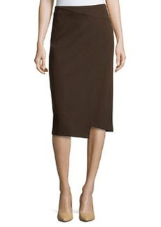 Lafayette 148 New York Asymmetric Faux-Wrap Pencil Skirt, Espresso