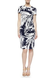 Lafayette 148 New York Asymmetric-Pleated Brushstroke Dress, Delft/White