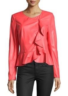 Lafayette 148 New York Asymmetric Ruffled Leather Jacket