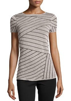 Lafayette 148 New York Asymmetric-Striped Knit Sweater, Daiquiri